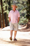 Uomo maggiore che cammina nel paese Fotografia Stock Libera da Diritti