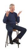 Uomo maggiore felice con le mani upraised Immagini Stock Libere da Diritti