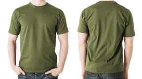 Uomo in maglietta cachi in bianco, nella parte anteriore e nella vista posteriore Immagine Stock Libera da Diritti