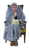 Uomo malato con la tosse, freddo, influenza isolata Immagine Stock Libera da Diritti