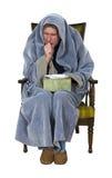 Uomo malato con la tosse, freddo, influenza isolata Fotografie Stock Libere da Diritti