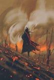 Uomo in mantello nero che sta contro la foresta bruciante royalty illustrazione gratis