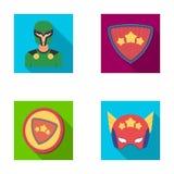 Uomo, maschera, mantello e l'altra icona di web nello stile piano Costume, supereroe, superforce, icone nella raccolta dell'insie royalty illustrazione gratis