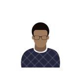 Uomo maschio dell'avatar dell'icona di profilo, fumetto afroamericano Guy Portrait, Person Silhouette Face casuale Fotografia Stock Libera da Diritti