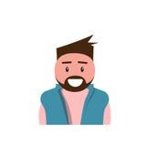 Uomo maschio dell'avatar dell'icona di profilo, fumetto Guy Beard Portrait, persona casuale dei pantaloni a vita bassa Fotografie Stock