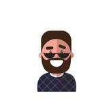 Uomo maschio dell'avatar dell'icona di profilo, fumetto Guy Beard Portrait, persona casuale dei pantaloni a vita bassa Immagine Stock