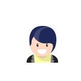 Uomo maschio dell'avatar dell'icona di profilo, fumetto Guy Beard Portrait, persona casuale dei pantaloni a vita bassa Immagini Stock