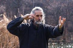 Uomo maturo che pratica disciplina di Tai Chi all'aperto fotografia stock