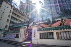 Uomo Mo Temple alla strada di Hollywood, al distretto di Sheung, al punto di riferimento ed a popolare pallidi per le attrazioni  fotografie stock