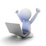 Uomo molto felice 3d che si siede sulla terra bianca con il computer portatile sul suo rivestimento Fotografia Stock
