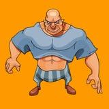 Uomo muscolare calvo del fumetto grande che guarda minaccioso illustrazione di stock