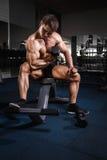 Uomo muscolare del culturista dell'atleta che fa gli esercizi con le teste di legno Fotografia Stock Libera da Diritti