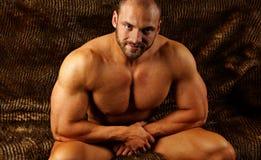 Uomo muscolare nudo Fotografia Stock Libera da Diritti