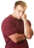 Uomo muscolare timido Fotografia Stock