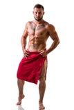 Uomo muscolare topless bello con l'asciugamano fotografia stock libera da diritti