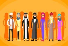 Uomo musulmano e donna della corona della gente tradizionali illustrazione di stock