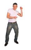 Uomo nei balli bianchi della maglietta fotografia stock libera da diritti