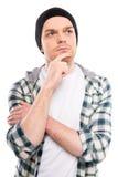 Uomo nei pensieri Fotografia Stock Libera da Diritti