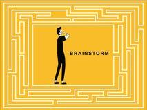 Uomo nel 'brainstorming' di puzzle royalty illustrazione gratis