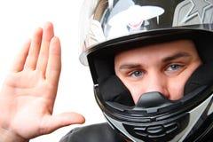 Uomo nel casco della motocicletta Fotografia Stock Libera da Diritti