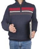 Uomo nel cloting casuale con il computer portatile Fotografie Stock