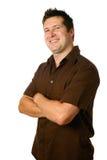 Uomo nel colore marrone casuale Fotografia Stock