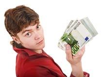 Uomo nel colore rosso con l'euro dei soldi. Fotografia Stock Libera da Diritti