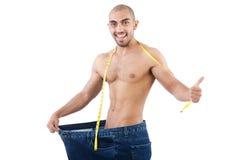 Uomo nel concetto stante a dieta Fotografie Stock Libere da Diritti