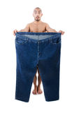Uomo nel concetto stante a dieta Immagine Stock