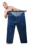 Uomo nel concetto stante a dieta Fotografia Stock