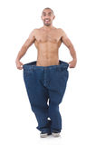 Uomo nel concetto stante a dieta Immagini Stock