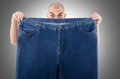 Uomo nel concetto stante a dieta Fotografia Stock Libera da Diritti