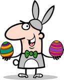 Uomo nel fumetto del costume del coniglietto di pasqua Fotografia Stock