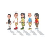 Uomo nel personaggio dei cartoni animati del gruppo Fotografia Stock