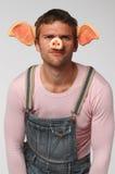 Uomo nel vestito del maiale Fotografia Stock