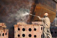 Uomo nel vestito di protezione dalle radiazioni Fotografia Stock