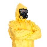 Uomo nel vestito protettivo del hazmat. fotografie stock libere da diritti