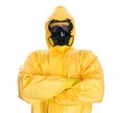 Uomo nel vestito protettivo del hazmat. fotografia stock libera da diritti