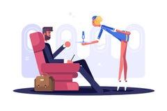 Uomo nel volo del vestito sull'aereo nel Business class royalty illustrazione gratis