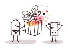 Uomo nell'amore che dà un presente ad una donna illustrazione vettoriale