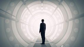 Uomo nell'interno futuristico Media misti Media misti Fotografia Stock