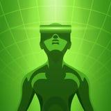 Uomo nella cuffia avricolare di realtà virtuale Fotografie Stock