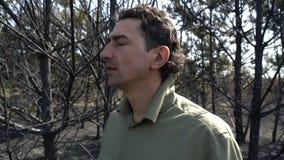 Uomo nella disperazione che sta nell'incendio violento bruciato di af della foresta, disastro ecologico di catastrofe archivi video