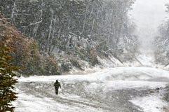 Uomo nella foresta, ambulante nella bufera di neve Fotografia Stock Libera da Diritti