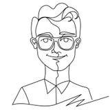 Uomo nella linea arte sorridente del ritratto uno degli occhiali Espressione facciale maschio felice Siluetta lineare disegnata a Fotografia Stock Libera da Diritti