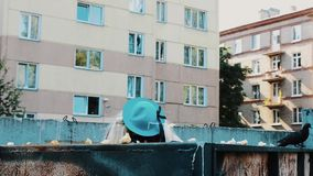 Uomo nella parrucca in occhiali da sole, cappello blu della donna in bidone della spazzatura parody Sorveglianza del qualcuno archivi video
