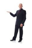 Uomo nello spazio della copia della holding del vestito Fotografie Stock Libere da Diritti