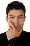 Uomo nepalese attraente, pensieri Fotografia Stock