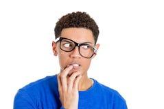 Uomo nerd del tipo nel panico e nel timore Fotografia Stock Libera da Diritti