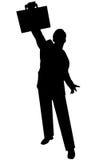 Uomo nero della siluetta su bianco Fotografia Stock